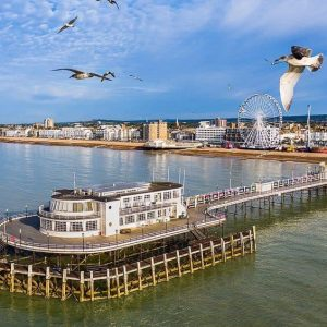 Aerial shot of Worthing Pier